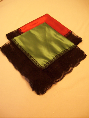 Basic Satin Black Lace Lap Cloth / Handkerchiefs