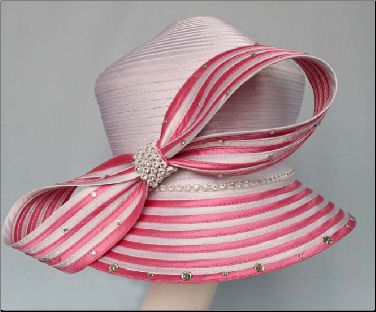 Striped Brim and striped Bow w/ Solid Basic Crown