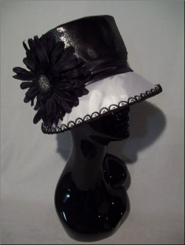 Black and white satin taffeta hat